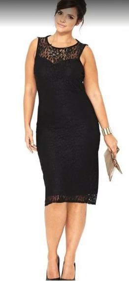 Vestido Negro De Encaje Sin Mangas Elegante Talla Grande