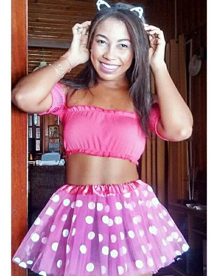 Saia Carnaval De Tule Rosa De Bolinha - Tamanho Único