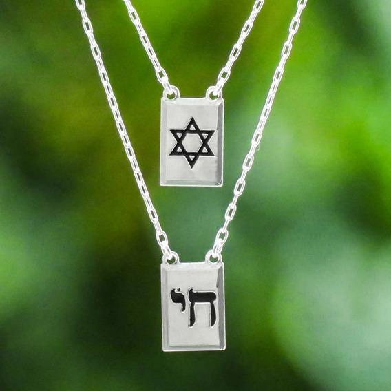 Escapulário Judaico Prata 925 Estrela De Davi E Chai ( Grátis Uma Flanela Limpa Prata )
