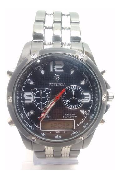 Relógio Masculino Potenzia Importado Luxo Cromado
