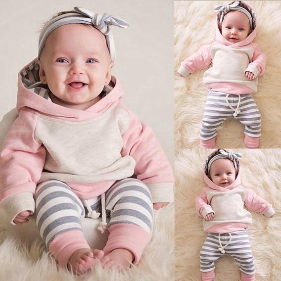 Roupas De Bebe Menina Conjunto Blusa Com Capuz, Calça E Laço