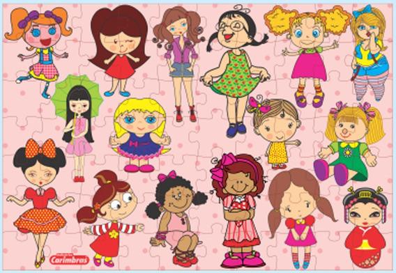 Brinquedo Quebra Abeça Bonecas Meninas Em Mdf