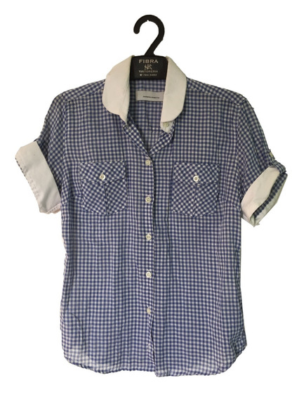 Camisa Cuadrille Manga Corta Mujer Talle Small