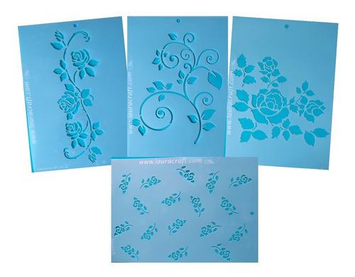 Stencil Laura Craft Set Rosas Y Plantas