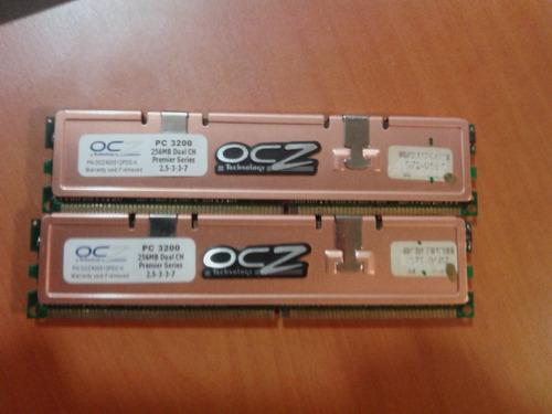 2 Memorias Ocz Ddr Pc 3200 De 256 Mb C/u Para Dual Chanel
