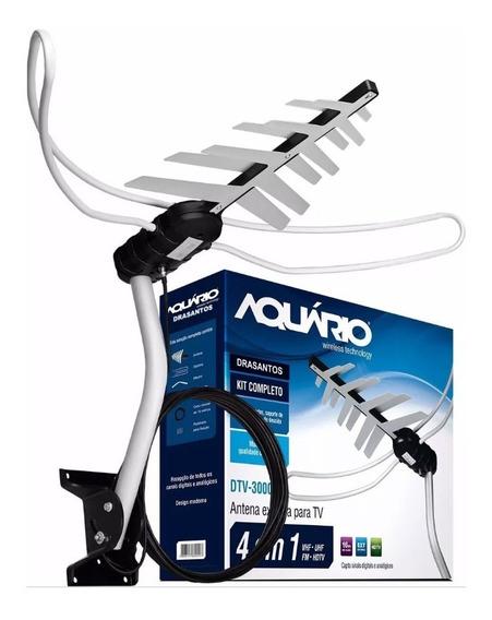 Antena Digital Externa Aquario Dtv-3000 4 Em 1