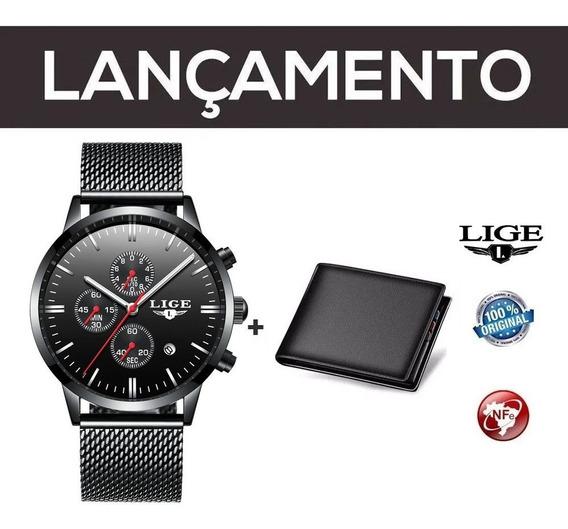 Relógio Masculino Preto Malha Lige C/ Nf + Carteira Brinde