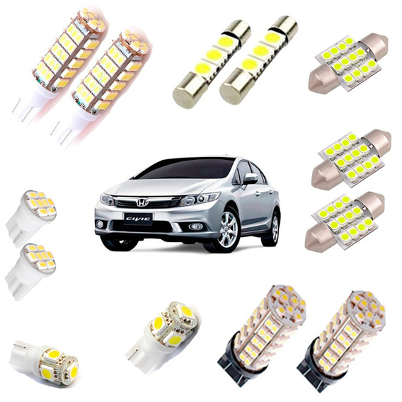 Kit Completo Led New Civic 2012 2013 Pingo Torpedo Placa Ré