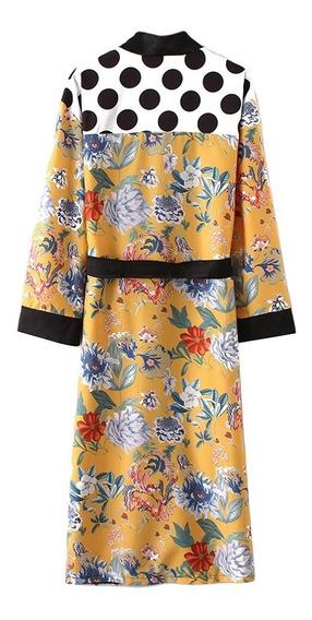 Ropa Larga Mujer Kimono Boho Floral Estampada De Playa