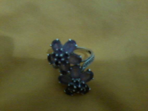 Anel Prata 925 + Ametista Flores Com Diamantes