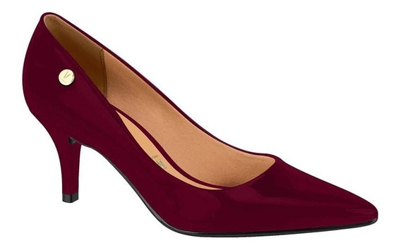 Sapato Scarpin Feminino Vizzano Verniz Vinho 1185102