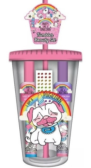 Tumbler Beauty Kit Unicornio Copo Esmaltes Batom E Adesivos