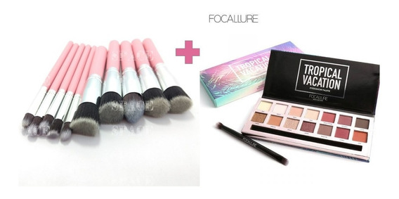 Combo Paleta De Sombra Focallure + Kit Com 10 Pincéis Kabuki