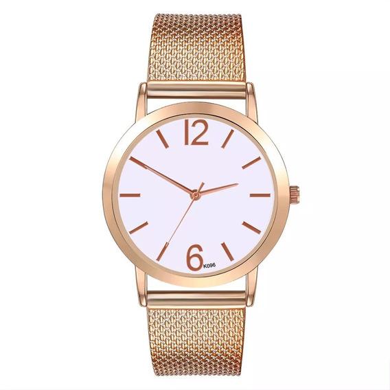Relógio Feminino Dourado Pulseira Silicone Barato