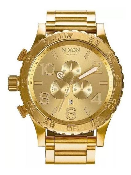 Relógio Zi1710 Nixon 51-30 Chrono Banhado Ouro 18k C/ Caixa