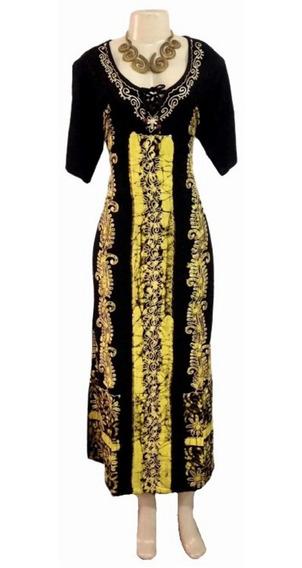 Vestido Longo Indiano Batik, Bordado, Manga Curta