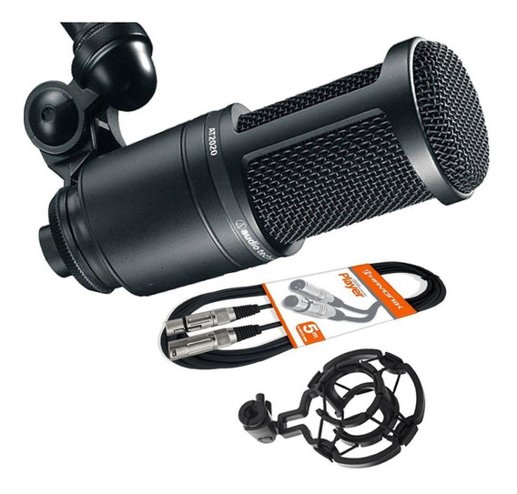 Kit Microfone Audio Technica At2020 + Cabo Xlr + Shokmount
