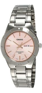 Reloj Casio Dama,acero Sumergible,esfera Mediana,color Rosa.