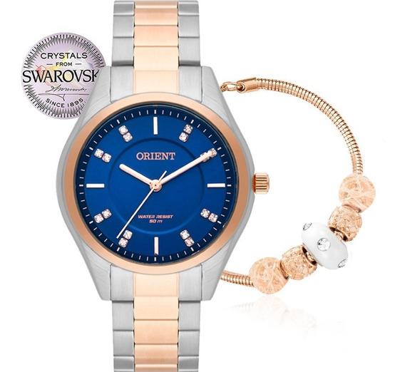 Relógio Orient Feminino Cristais Swarovski Pulseira Com Berloque Original Nota Ftss0055d1sr