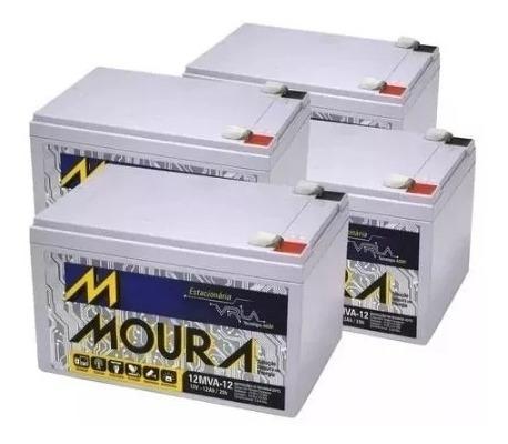 Kit 4 Bateria Moura Vrla Selada 12ah 12v Alarme / Nobreak