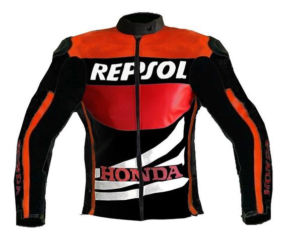 Campera Cuero Eco Repsol Honda Con Protecciones