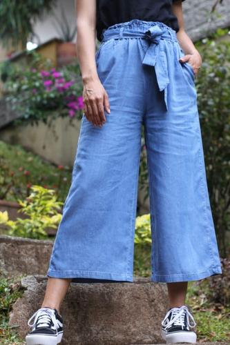 Pantalón Culotte Azul Tiro Alto