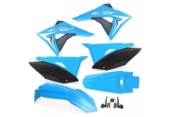 Kit Plásticos Crf230 Azul Biker Next Number Adesivo