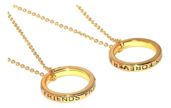 Colar Best Friends Forever Amizade Amigas Folheado Ouro B23