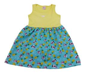 Vestido Infantil Menina Cotton Estampa Rotativa 4 Ao 8 Anos