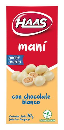 Imagen 1 de 1 de Haas Mani Con Chocolate Blanco  70 Grs