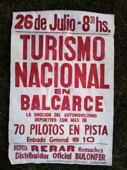 Antiguo Afiche Automovilismo Turismo Nacional Balcarce