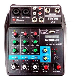 Mini Mezclador Teyun De 4 Canales, Bluetooth, Usb, Nuevo