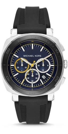 Relógio Michael Kors Mk8553 Bax Orig Chron Anal Black Silico