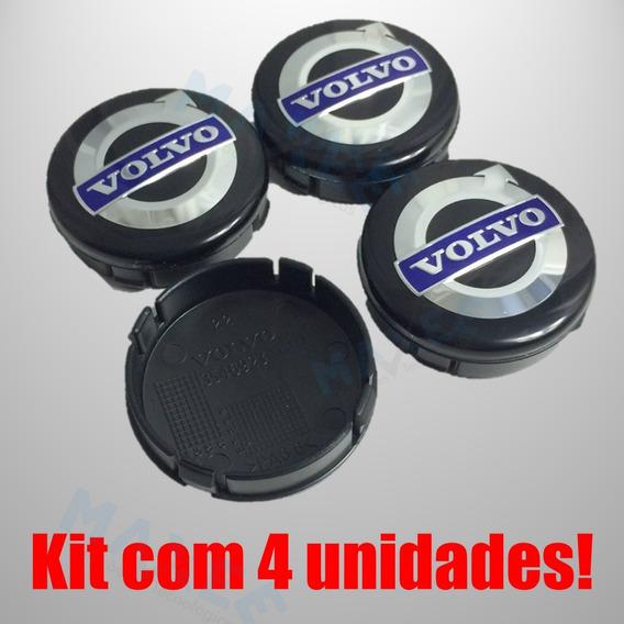 Jogo Calotas Centro Volvo 64mm C30 Xc90 S80 S60 S40 V70 Xc60