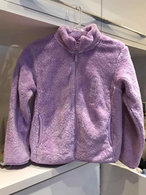 Casaco Lilás Sem Gola Plush Fluffy Yarn Tam 9-10 Uniqlo