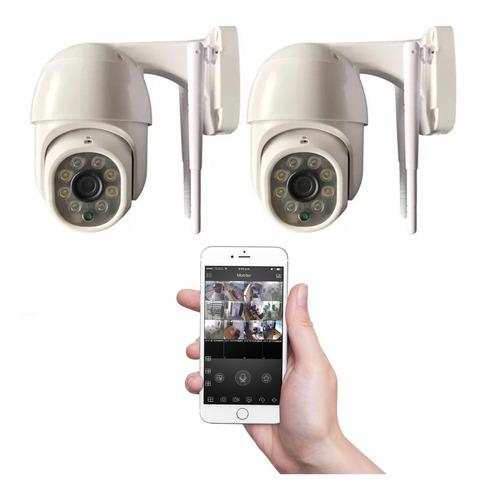 Imagen 1 de 10 de Kit 2 Camaras Seguridad Ip Exterior Wifi Domo Inalambrica
