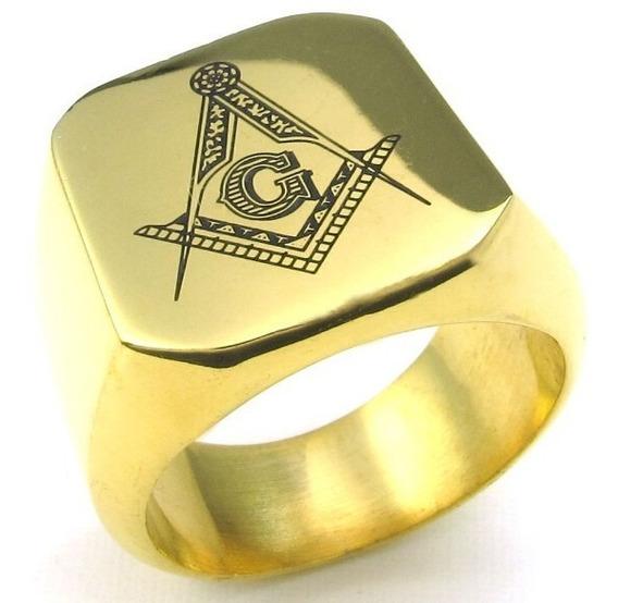 Anel Maçônico Livres Maçons Dourado Aro 15 Ao 34