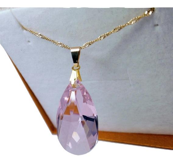 Colar Gota Cristal Swarovski Rosaline 2,8 Cm Folheado A Ouro