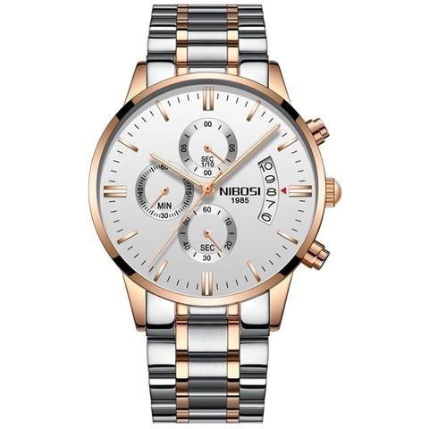 Relógio Nibosi Cronógrafo Quartzo Aço Inoxidável Original