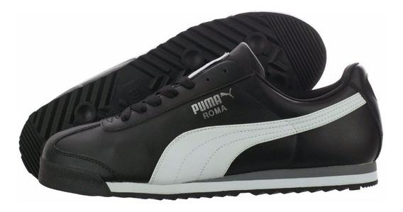 Puma Roma Silver 100% Para Caballeros Negros Franja Blanca