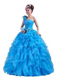 Vestido Debutante Festa 15 Anos Vermelho E Azul Claro Saiote