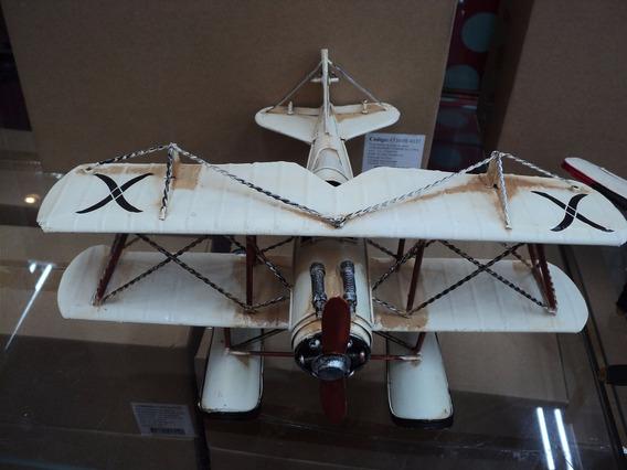 Lindo Avião Hidroplano Miniatura Em Metal 25 Cm