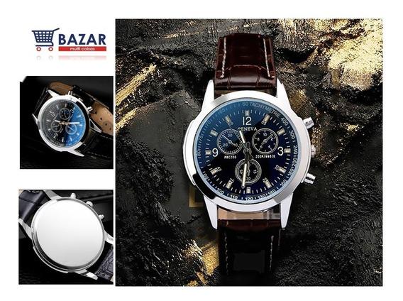 Relógio Masculino Geneva Luxo Analógico Pulso Social Elegante Pronta Entrega Pulseira Preta Marrom