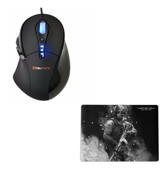 Kit Gamer Mouse Laser 3400dpi Shotgun + Mousepad Medio 40x30