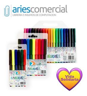 10 Cajitas Marcadores Ezco X 6 Colores / Para Vida Solidaria