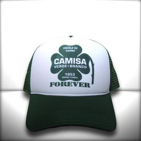 Boné Escola De Samba Camisa Verde E Branco Trucker Verde