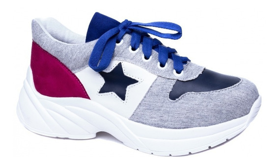 Tênis Chunky Sneaker Em Napa Branco, Azul, Camurça Pink E Te