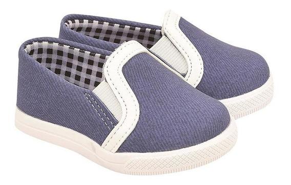Tênis Slip On Infantil Menino Jeans Cano Baixo Dia A Dia