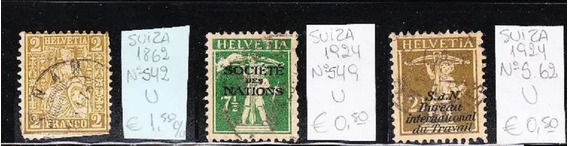 Suiza Lote 3 Sellos Servicio Oficial Ivert Nº S 42 S 49 S 62