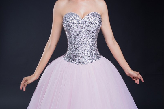 Vestido Xv Años Rosa Con Plata Envió Gratis ! Q-30287